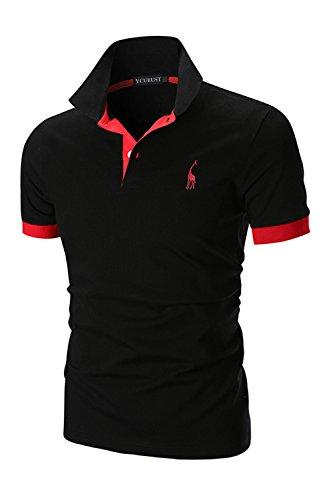 YCUEUST Polo para Hombre Manga Cortas Bordado Contrast Collar Golf Camiseta Negro EU L