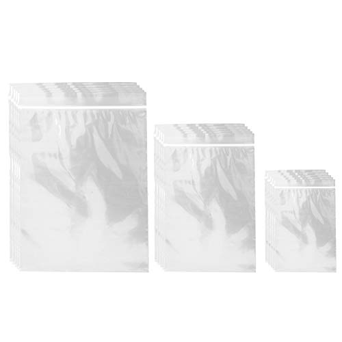 Belinlen 400pcs Small Ziplock Poly Bags 3 Sizes Assorted Resealable Plastic Zipper Bags for Jewelry Beads Candy 2 x 3/3 x 4/ 4X 5 Inch 2 Mil Clear