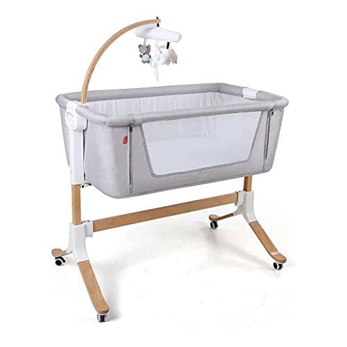 JIAX Cuna de noche con colchón incluido, ajustable y fácil de montar, cuna para bebés, cuna de bebé ligero y cama para dormir seguro (color gris claro)