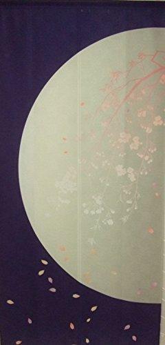 和風 のれん タペストリー 暖簾【月にしだれ桜】(幅85�p x 丈180cm)ロング丈(ポリエステル100%)日本製