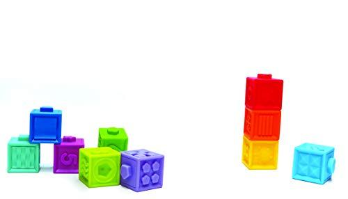 BSM Edushape- Cubes Sensoriels Souples Formes et Couleurs Jouet Premier Age, Ed 977010