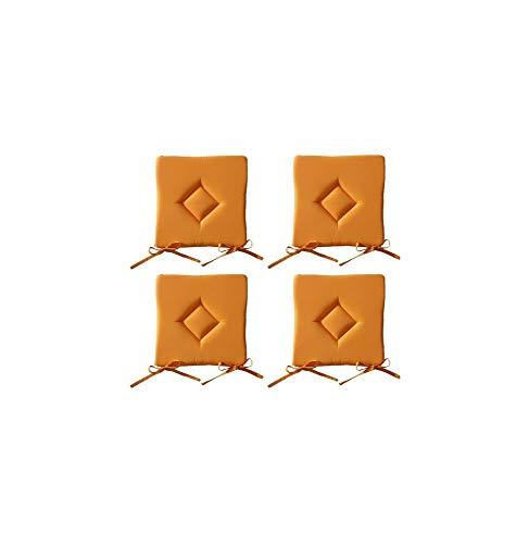 Lot de 4 Galettes de chaise à assise matelassée unie - Orange - 40x40x3.5cm - Today