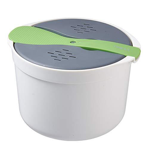 Chutoral Mikrowelle Reiskocher, 2L Multifunktions Kochgeschirr Mikrowellen-Dampfgarer mit Siebdeckel, Heimküche Getreidekocher für Zuhause, Küche, Kochen(grün)