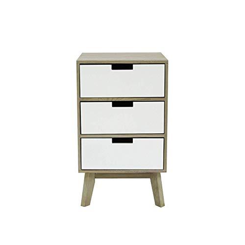 Rebecca meubelstuk nachtkastje wit lichtbruin met Scandinavische commode 3 laden houten badkamer kinderkamer afmetingen: 65 x 35 x 30 cm (h x b x d) - artikelnummer: RE6190.