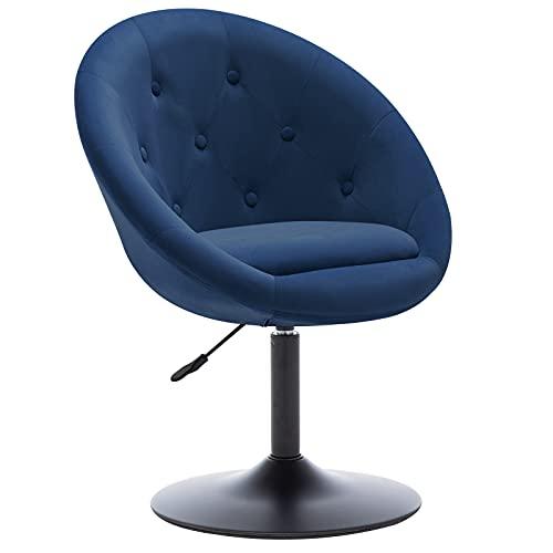 Duhome Modern Velvet Vanity Chair, Swivel Accent Chair Button-Tufted Upholstered Desk Chair Adjustable Makeup Stool for Living Room Bedroom, Blue