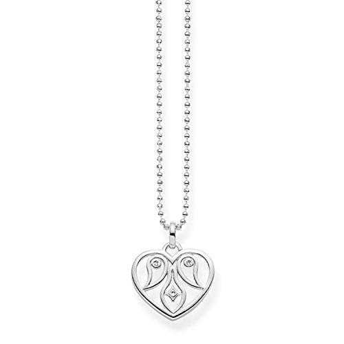 THOMAS SABO Damen-Kette mit Anhänger Herz Ornamentik 925 Silber Diamant (0.2 ct) weiß 0.1 cm - D_KE0018-725-21-L45v