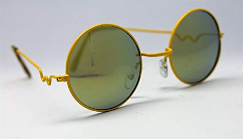 Yellow Gold Mirror Round Sun Glasses Trigun Vampire Cosplay Yellow Frames Steam Punk Hippie #LU01