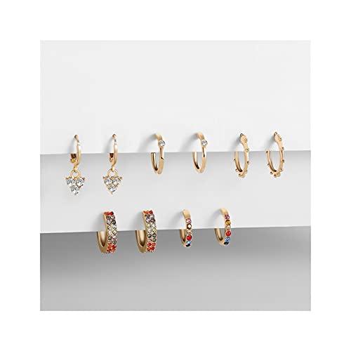 XCQ Colore Zircone Orecchini in Oro 5 Paia Geometrica Piccolo Hoop Orecchini cartilagine d'oro per Le Donne Set di Moda Gioielli Nozze San Regali per Bambini Ragazze (Metal Color : Multicolor)