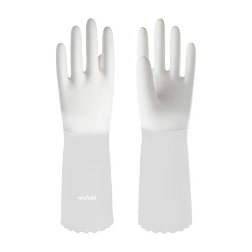 LANON Wahoo Series Premium PVC Cleaning Gloves for Kitchen, Gardening, Reusable Hand Protection, Ultra-Thin, Unlined, Non-Slip, Semi-Transparent Cuff, DEHP Free, Medium, Intertek Listed