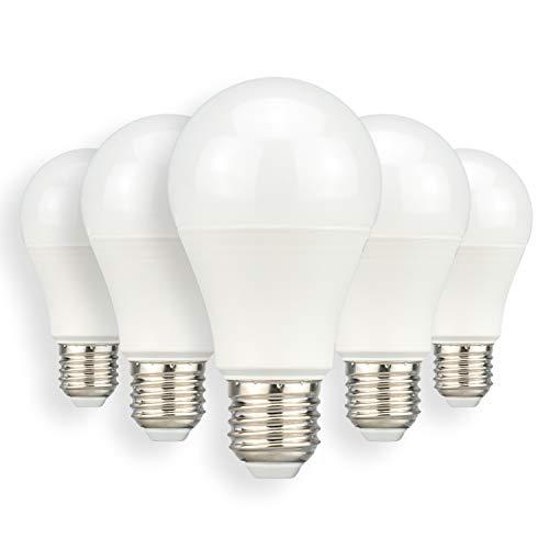 POPP Bombillas E27 LED 6W Equivalente a 40W Incandescente Edison A60 480Lm SMD Blanco 6000K Fría (6000K, Pack 5)