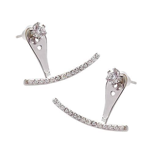 Orecchini a forma di arco in argento sterling 925 al 100% Orecchini pendenti con zirconi cubici per orecchini da donna