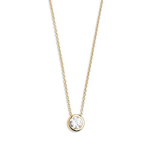 Xenox Damen Silber Sterling 925 Halskette in Gold mit Zirkonia Anhaenger 40-45cm - Silver Circle XS7282G