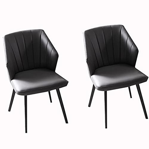 JFIA65A Moderno Juego de 2 Sillas de Comedor Sillón Salón Patas Acero Negro Sillas Cuero para Oficina Comedor Cocina Dormitorio Sillas