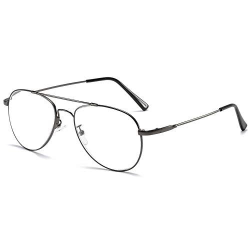 KOOSUFA Lesebrille Pilotenbrille Damen Herren Metallrahmen Lesehilfen Sehhilfe Vintage Mode Groß Brillen Leser 1.0 1.25 1.5 1.75 2.0 2.25 2.5 2.75 3.0 3.5 4.0 (Grau, 2.5)