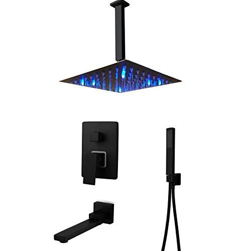 HAUSELIEBE 8 Pulgadas Negro LED Sistema De Ducha, 3 Vías Conjunto De Ducha Ocultado Montaje En Techo Columna De Ducha con Rotación De 180 ° Grifo Baño