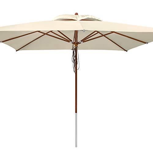 anndora® Sonnenschirm 4 x 4 m quadratisch Holz Gestänge - Natural