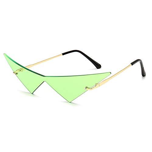 CAONIDAYE Gafas de soltriangulares de gran tamaño paramujer, gafas de sol Vintage sin montura con lentes transparentes para el océano, gafas de sol de ojo de gato para hombre de moda, verde dorado