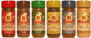 Bensons 6-Pack Salt-Free Seasoning Set - 5 Seasonings + 1 Salt Substitute + Salt Free Cookbook, Salt-Free, Sugar-Free, Glu...