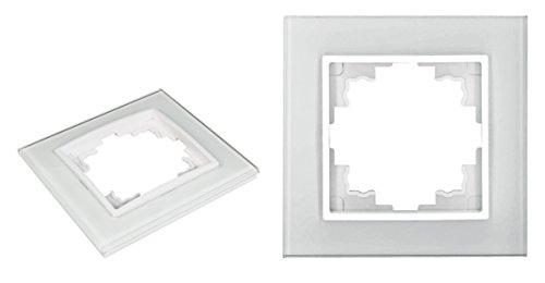VARIATION Lichtschalter Schalter Taster Wechsel-Serien-Schalter Jalousie-Schalter Dimmer Antennen-Dose ISDN-Steckdose für RJ45 + RJ11 (UNIVERSAL Glas-Rahmen 1-fach 90x90x10mm WEISS)