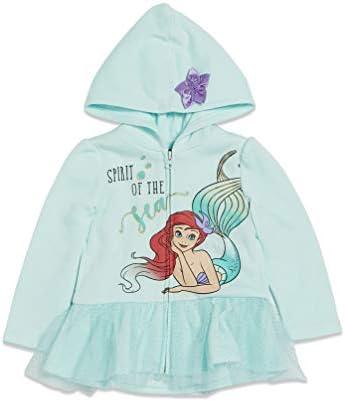 Disney Little Mermaid Princess Ariel Big Girls Fleece Zip Up Long Sleeve Hoodie 10 12 product image