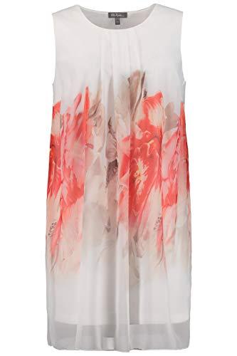 Ulla Popken Damen große Größen bis 64, ärmelloses Kleid, doppellagig, Transparenter Chiffon mit Blüten, Zierfalte am Rundhalsausschnitt, darunter blickdichtes Jerseykleid, offwhite 50/52 722328 21-50+