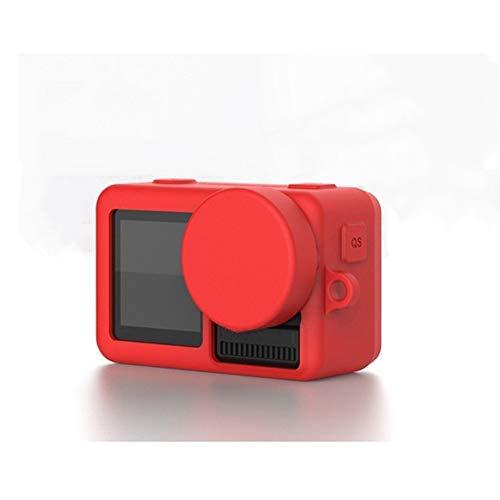 FUQUANDIAN 4 Colores de Silicona Caso de protección Protección Suave + Lente Tapa for dji Osmo Acción Deportes Accesorios for cámaras Accesorios de Soporte (Colour : Red)