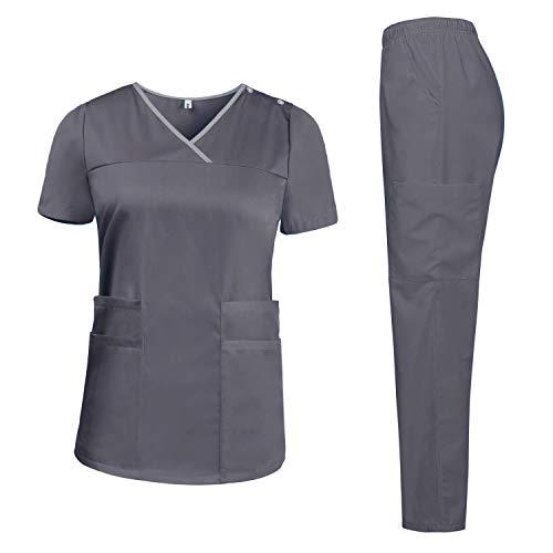 Aibrou Medizinisch Anzug Uniform Damen Set mit Oberteil und Hose, Schrubb Kleidung Set Laborkleidung Schlupfkasack Krankenhaus Arbeitskleidung Anti Falten