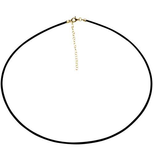 SKIELKA DESIGNSCHMUCK 2 mm Kautschuk Collier hochwertige Goldschmiedequalität aus Deutschland (Sterling Silber 925 vergoldet) Kautschuk Band mit Verlängerung