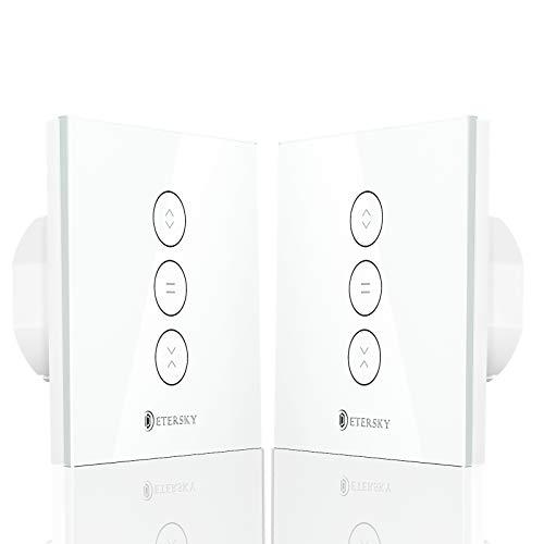【LED Controlable】 Interruptor Persiana Wifi, Etersky Interruptor Inteligente Control de APP y Voz Compatible con Alexa y Google Home Interruptor de Reloj para Motor Persiana Tubular, 2 Piezas