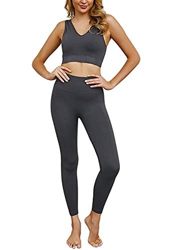ABirdon Yoga Outfits Trainingsanzug Set für Damen, 2 Stücke Nahtlos Yoga Workout Sportanzug mit V-Ausschnitt Sport Oberteil und Hohe Taille Leggins Sporthose für Pilates Fitness und Gym (Grau)