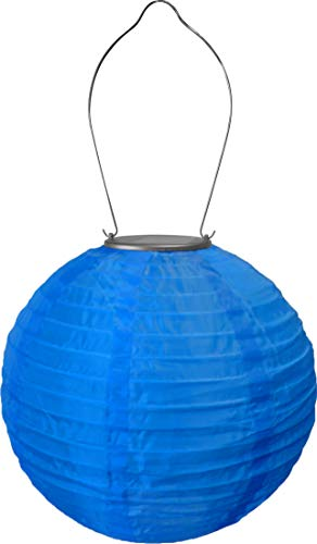 "Allsop Home and Garden 29614 Soji Original 10"" Round LED Outdoor Solar Lantern, Handmade with Weather-Resistant UV Rated Nylon, Stainless Steel Hardware, Auto sensor on/off, Chinese Style Globe Light, Blue (1-count)"