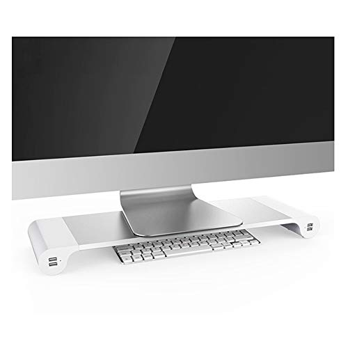 Multifunction Computer Monitor Stand with 4 USB Ports Aluminum Alloy Desktop Holder Desk Stand EU Plug for Tablets PC Laptops