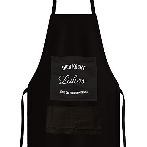CADEAUX.COM Personalisierte Schwarze Kochschürze - Klassisch - Schürze mit Name und Wunschbegriff, mit 1 zentralen Tasche und 2 niedrigen Taschen