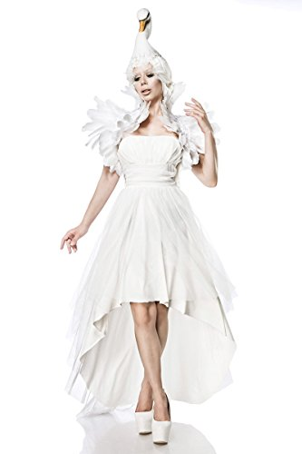 Sexy White Swan Kostüm Set Schwanenkostüm Schwan Schwanenkleid Fasching Karneval Weiß Damen XS