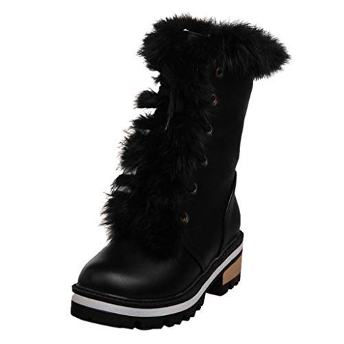 BALABA◕。 Women Wedge Increase Square Heels Lace-Up Plush Mid Boot Keep Warm Snow Shoes Winter Boots