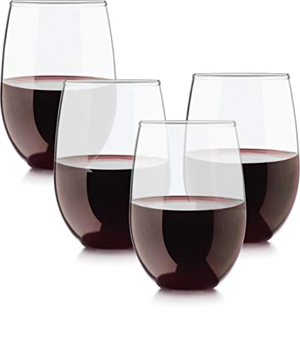 Circleware Set of 4 Stemless Wine Glasses, Drinking Glassware for Water, Juice, Beer, Liquor and Best Selling Kitchen & Home Decor Bar Dining Beverage Gifts, 15 oz, Uptown 4pc
