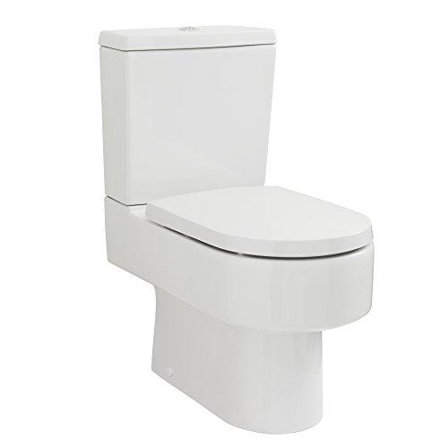 Hudson Reed - Sanitario Bagno WC a Terra Moderno con Vaso e Sedile Coprivaso Soft-Close in Ceramica Bianca (Doppio Pulsante, Scarico Orizzontale)