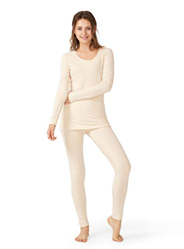 Femofit Thermal Underwear for Women Long John Ultra Soft Top & Bottom Base Layer Set Thermals Set (Nude,L)