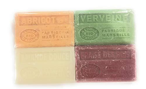 Label Provence - Lot de 4 Savons de Marseille BIO a l'huile d'argan- parfum Abricot/Verveine/Amande douce/Fraise des bois