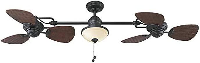 Harbor Breeze Twin breeze II 74-inch Matte Black Incandescent Indoor/Outdoor Ceiling Fan with Light (6-Blade)