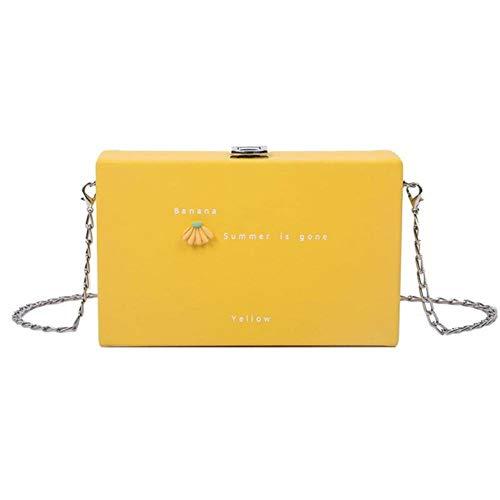 Tgbyhnujm Fruit Decorative Box Damen Clutch Bag Umhängetasche Umhängetasche Handtasche Weibliche Einkaufstasche, Gelb, 19cmx12cmx5cm