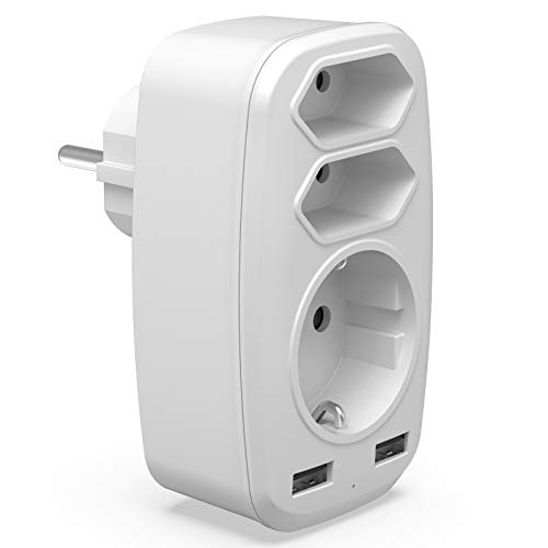 USB Steckdose Adapter, 5 in 1 Multi EU Steckdosenadapter mit 3 Steckdosen (4000W) and 2 USB Steckern (2.4A) Kompatibel für iPhone, iPad, Laptop, Weiß