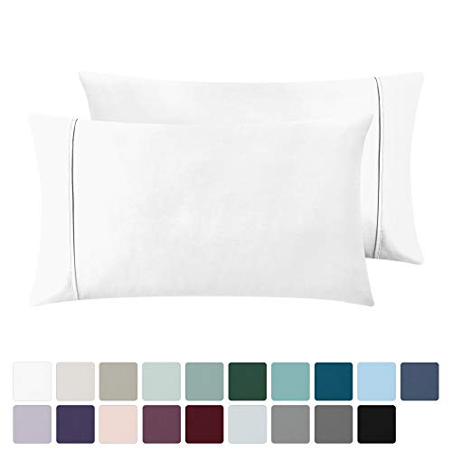 400 Thread Count 100% Cotton Pillow Cases, Pure White Standard Pillowcase...