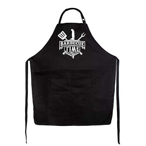 BARBECUE TIME Grillschürze für Männer Flüssigkeitsabweisend mit Taschen - inkl. E-Book - Schürze Mann mit verstellbarem Nackenband - Schürze Herren - Küchenschürze Männer - Kochschürze Mann und Frau