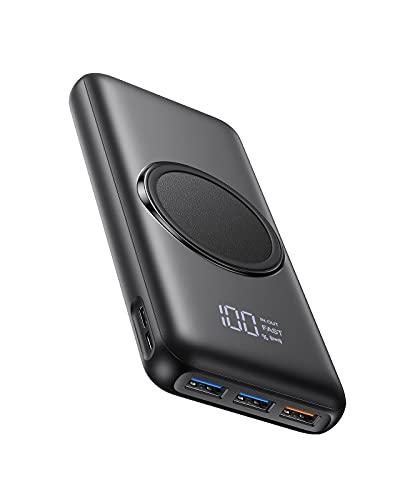 Charmast Batterie Externe Induction 20000mAh 15W Power Bank Charge Rapide en PD/QC 20W avec Ecran LED et 4 Ports de Sortie 2 Ports d'Entrée Compatible avec Téléphone