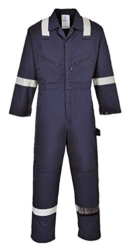 Portwest - F813NAR4XL Iona Coverall Overall Boiler Suit Hi Vis Visibility Reflective Work Wear, 4XL Navy