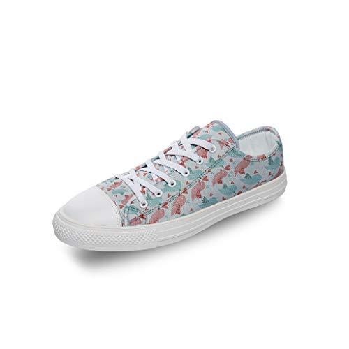 Zhcon Unisex Teen Boys Animal Pattern Sneakers Animales Cómodo Transpirable Low Top Walking Athletic Training Canvas Shoes para Enfermeras y Estudiantes Regalo, Color Blanco, Talla 40 EU