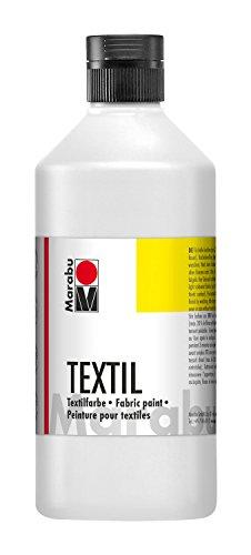 Marabu 17160075070 - Textil Stoffmalfarbe weiß 500 ml, Stoffdruckfarbe auf Wasserbasis, für helle Stoffe, waschbeständig bis 60°C, weicher Griff, einfache Fixierung durch Bügeln o. Backofen