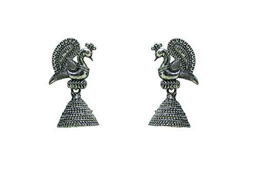 Pendientes de plata oxidados con diseño de pavo real indio, Jhumka Jhumki