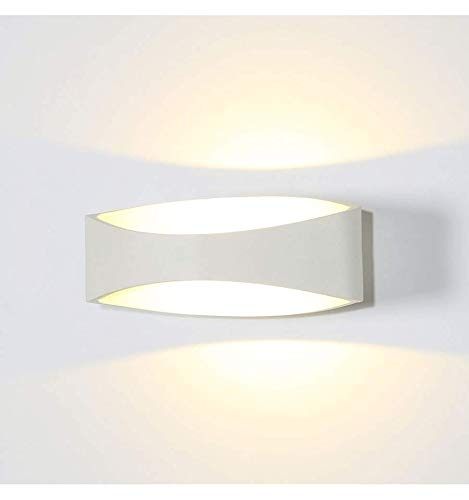 KOSILUM - Applique murale moderne LED blanc – Alyson - Lumière Blanc Chaud Eclairage Salon Chambre Cuisine Couloir - 6W - 440 lm - LED intégrée - IP20